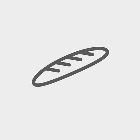 Bread icon thin line for web and mobile, modern minimalistic flat design. Vector dark grey icon on light grey background. Vector