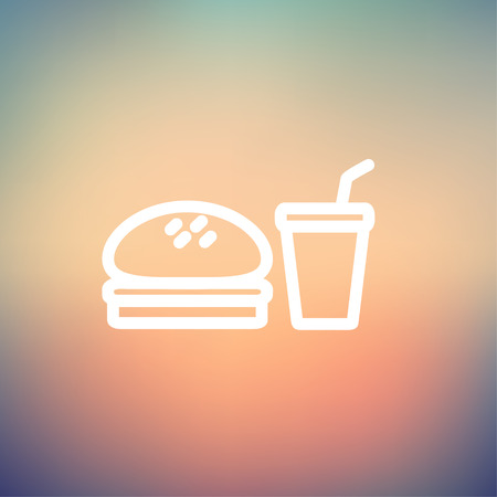 Fast food meal icon thin line for web and mobile, modern minimalistic flat design. Vector white icon on gradient mesh background. Vector