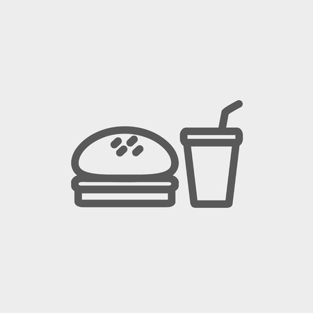 minimal: Fast food meal icon thin line for web and mobile, modern minimalistic flat design. Vector dark grey icon on light grey background.