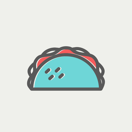 Taco icon thin line for web and mobile, modern minimalistic flat design. Vector icon with dark grey outline and offset colour on light grey background. Illustration