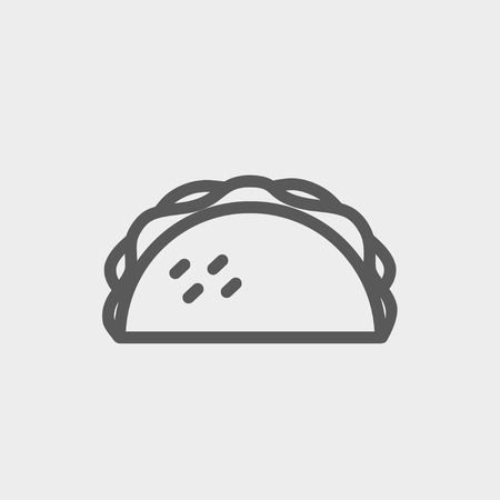 shredding: Taco icon thin line for web and mobile, modern minimalistic flat design. Vector dark grey icon on light grey background.