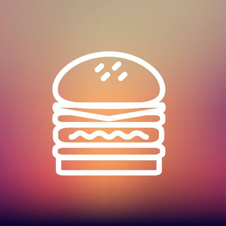 Double burger icon thin line for web and mobile, modern minimalistic flat design. Vector white icon on gradient mesh background.