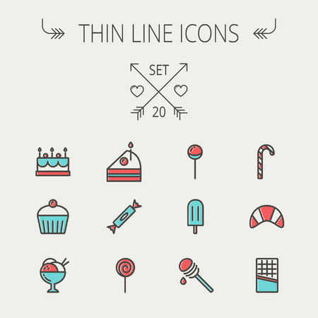 dipper: Food and drink thin line icon set for web and mobile. Set includess- cake, candy, lollipop, cupcake, ice cream, honey dipper, popice, waffle icons. Modern minimalistic flat design. Vector icon with dark grey outline and offset colour on light grey backgro Illustration