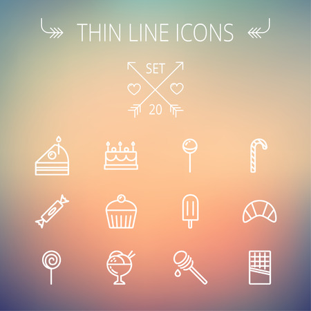dipper: Food and drink thin line icon set for web and mobile. Set includes- cake, candy, lollipop, cupcake, ice cream, honey dipper, popsicle, waffle icons. Modern minimalistic flat design. Vector white icon on gradient mesh background. Illustration
