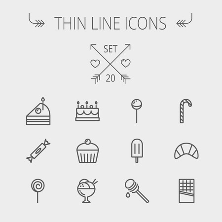 Food and drink thin line icon set for web and mobile. Set includes- cake, candy, lollipop, cupcake, ice cream, honey dipper, ice pop, waffle icons. Modern minimalistic flat design. Vector dark grey icon on light grey background.