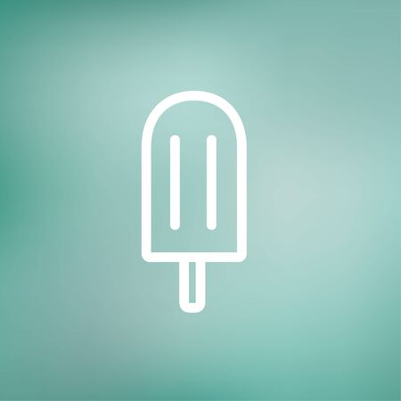 ice pop icon thin line for web and mobile, modern minimalistic flat design. Vector white icon on gradient mesh background.