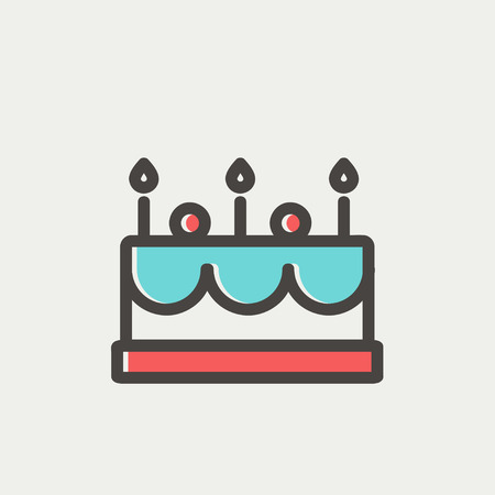choc: Birthday cake with candle icon thin line for web and mobile, modern minimalistic flat design. Vector icon with dark grey outline and offset colour on light grey background.