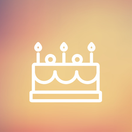 choc: Birthday cake with candle icon thin line for web and mobile, modern minimalistic flat design. Vector white icon on gradient mesh background.