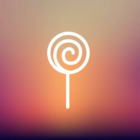 Lollipop icon thin line for web and mobile, modern minimalistic flat design. Vector white icon on gradient mesh background.