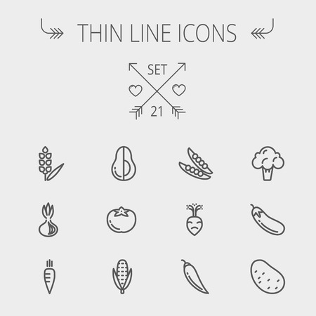 Food and drink thin line icon set for web and mobile. Set includes- beans, eggplant, potato, cauliflower, turnip, corn, avocado, carrot icons. Modern minimalistic flat design. Vector dark grey icon on light grey background.