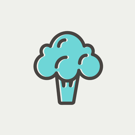 Broccoli icon thin line for web and mobile, modern minimalistic flat design. Vector icon with dark grey outline and offset colour on light grey background.