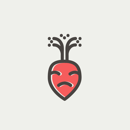 rutabaga: Turnip icon thin line for web and mobile, modern minimalistic flat design. Vector icon with dark grey outline and offset colour on light grey background.