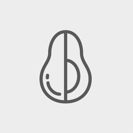 egg shaped: Avocado icon thin line for web and mobile, modern minimalistic flat design. Vector dark grey icon on light grey background.