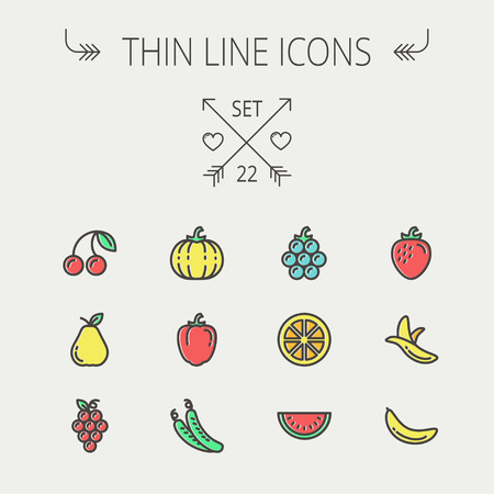 Food and drink thin line icon set for web and mobile. Set includes-banana, watermelon, cherry, squash, grapes, lanzones, peas, pear icons. Modern minimalistic flat design. Vector icon with dark grey outline and offset colour on light grey background