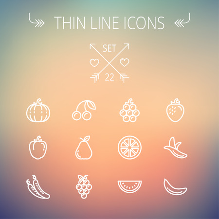 Food and drink thin line icon set for web and mobile. Set includes-banana, watermelon, cherry, squash, grapes, lanzones, peas, pear icons. Modern minimalistic flat design. Vector white icon on gradient mesh background. Illusztráció