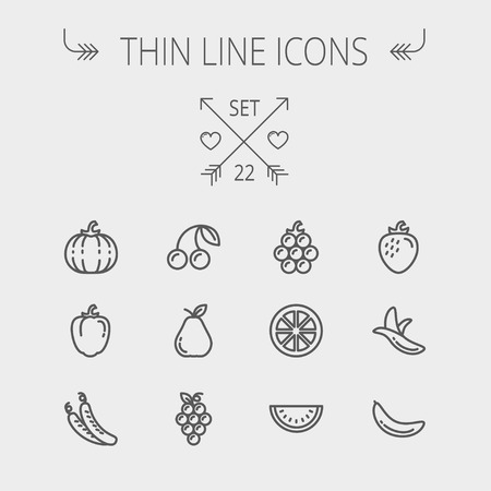 Food and drink thin line icon set for web and mobile. Set includes- banana, watermelon, cherry, squash, grapes, lanzones, peas, pear icons. Modern minimalistic flat design. Vector dark grey icon on light grey background.
