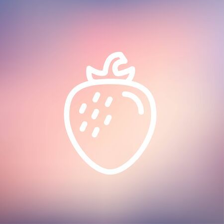 jams: Strawberry icon thin line for web and mobile, modern minimalistic flat design. Vector white icon on gradient mesh background.