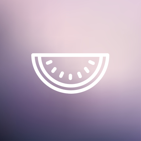 watermelon slice: Watermelon slice icon thin line for web and mobile, modern minimalistic flat design. Vector white icon on gradient mesh background.