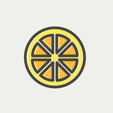 fruited: Sliced of lemon icon thin line for web and mobile, modern minimalistic flat design. Vector icon with dark grey outline and offset colour on light grey background. Illustration
