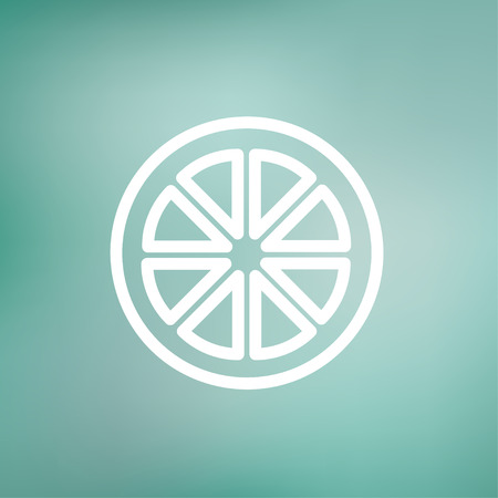 Sliced of lemon icon thin line for web and mobile, modern minimalistic flat design. Vector white icon on gradient mesh background.