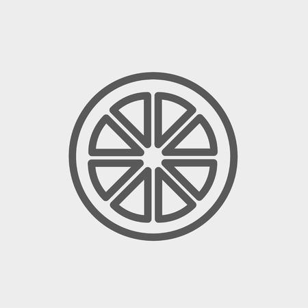 fruited: Sliced of lemon icon thin line for web and mobile, modern minimalistic flat design. Vector dark grey icon on light grey background. Illustration