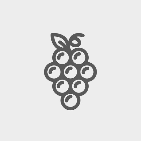 Bunch of grapes icon thin line for web and mobile, modern minimalistic flat design. Vector dark grey icon on light grey background. Ilustracja
