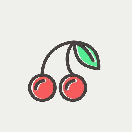 cereza: Icono de la cereza fina l�nea para web y m�vil, dise�o plano minimalista moderno. Icono del vector con el esquema de color gris oscuro y el color offset en el fondo gris claro.