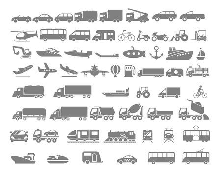 transportes: Vehículos y Transporte icono plana conjunto. Vector diseño plano ilustración. Vectores