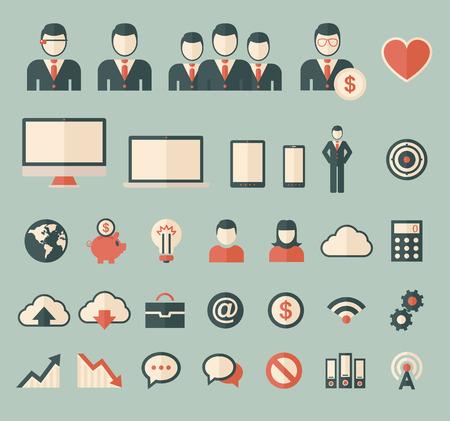 multimedia icons: Technology set of flat icons. Vector flat design illustration. Illustration