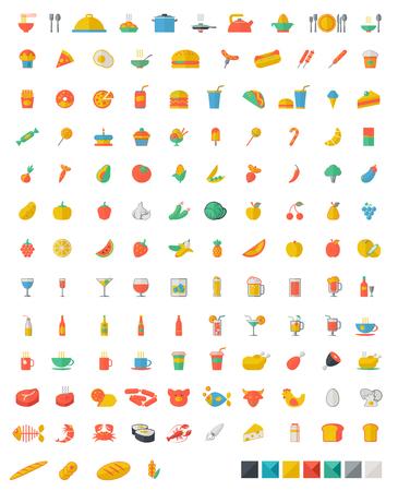pan y vino: Una serie de alimentos y bebidas - frutas, caf�, t�, carne, pan, vino, magdalenas, icono hamburguesa conjunto. Vector dise�o plano ilustraci�n layout Square. Vectores