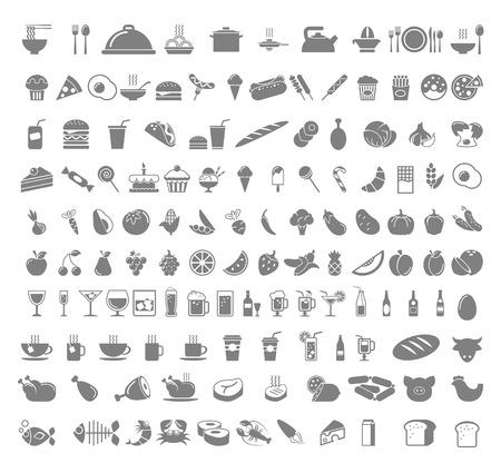 Um número de alimentos e bebidas - frutas, café, chá, carne, pão, vinho, cupcakes, ícone hambúrguer set. Vector design plano ilustração disposição Square. Ilustração