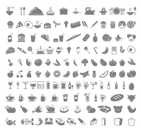 Una serie de alimentos y bebidas - frutas, café, té, carne, pan, vino, magdalenas, icono hamburguesa conjunto. Vector diseño plano ilustración layout Square. Foto de archivo - 39178481