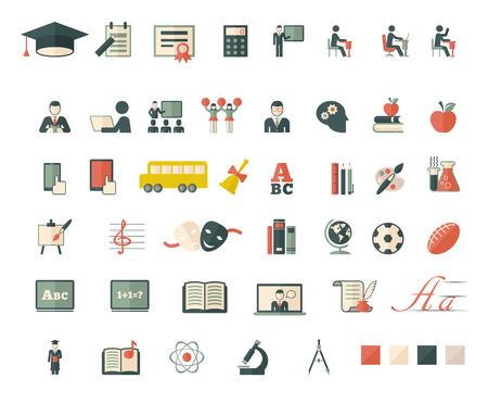 onderwijs: Set van school en onderwijs vlakke pictogrammen. Vector plat ontwerp. Stock Illustratie