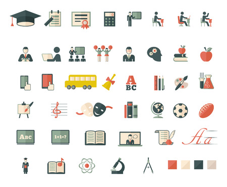 Set of school and education flat icons. Vector flat design.