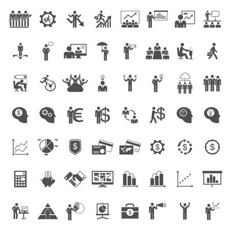 Un ensemble de gens d'affaires icône-, carte, argent, graphique, calculatrice, idée d'ampoule, icône de la tête humaine. Vector design plat illustration. Plan carré. Illustration