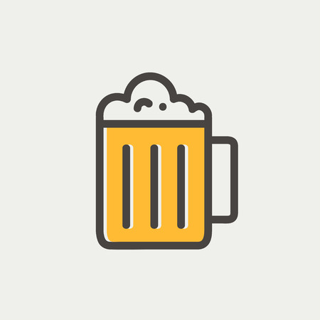 beer label design: Mug of beer icon thin line for web and mobile, modern minimalistic flat design.