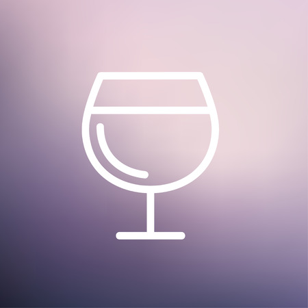 Glass of wine icon thin line for web and mobile, modern minimalistic flat design. Illustration