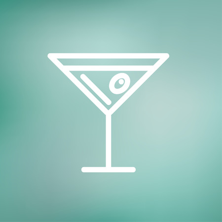 Glass of martini icon thin line for web and mobile, modern minimalistic flat design.