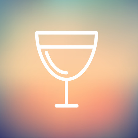 Glass of wine icon thin line for web and mobile, modern minimalistic flat design.