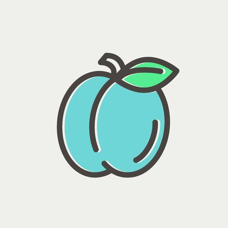 minimalistic: Plum with leaf icon thin line for web and mobile, modern minimalistic flat design.