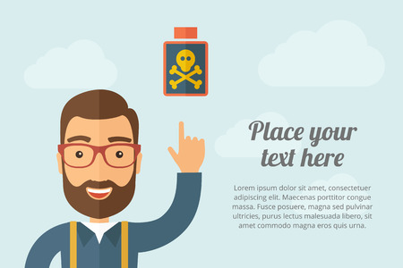 caution chemistry: A Man pointing the poisonous bottle icon.  Illustration