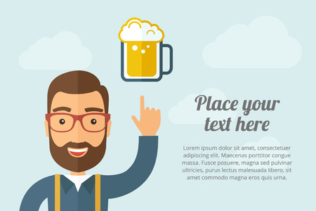 cool backgrounds: A Man pointing the mug of beer icon. Illustration