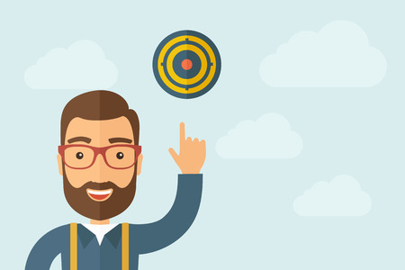 A Man pointing the target pad icon. Ilustrace