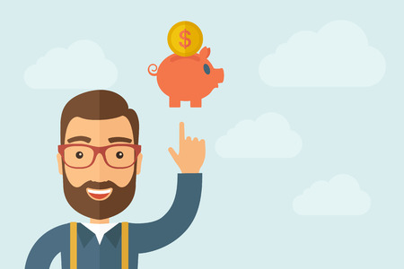 savings account: A Man pointing the piggy bank icon. Illustration