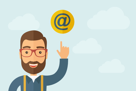 rollover: A Man pointing the e mail internet icon. Illustration