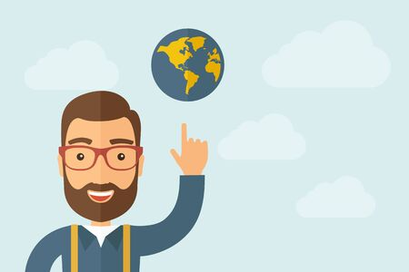 realist: A Man pointing the globe icon. Illustration