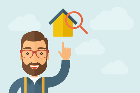 A Man pointing the house with magnifying glass icon.