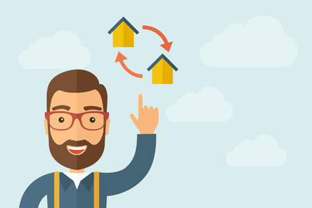 housetop: A Man pointing the two house icon. A contemporary style with pastel palette, light blue cloudy sky background. Vector flat design illustration. Horizontal layout with text space on right part.
