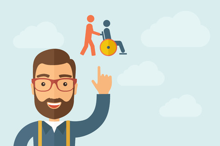 A Man pointing the man pointing pushin a friend in a wheelchair icon. Vector