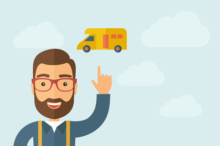 work home: A Man pointing delivery van icon. Illustration